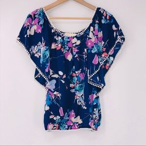 Yumi Kim Cabo Blouse Blue Floral Flutter Sleeves